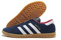 Кроссовки мужские Adidas Hamburg темно-синие с белым и красным (адидас гамбург)