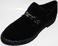 Туфли женские на платформе Olli 1-2750, кожаные, черные, замшевые