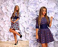 Джинсовое женское платье-цветок мод.105 (р.42-46)