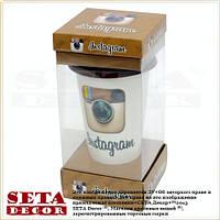 Термостакан (термокружка, чашка) Instagram с силиконовой крышкой в подарочной упаковке