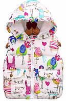 Утепленная жилетка для девочки разноцвет рост 115-130