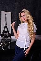 Офисная белая блуза Иллюзия Модус 44-48 размеры