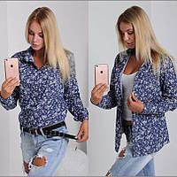 Женская рубашка длинный рукав тонкий джинс