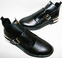 Туфли на низком ходу Jina 6098, кожаные, черные
