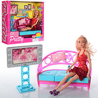 Мебель диван и телевизор с куклой 2027-1