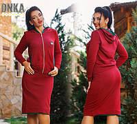Женский комплект юбка с кофтой батального размера в расцветках ДГ1071