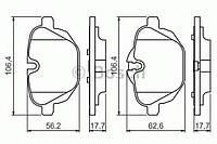 """Гальмівні колодки bmw 5(f10)/ x3 """"r """"10 (производство Bosch ), код запчасти: 0986494432"""