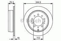 """Гальмівний диск toyota land cruiser 200 """"r """"04 (производство Bosch ), код запчасти: 0986479R32"""