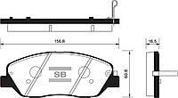 Колодка тормозная Hyundai GENESIS 3.3, 3.8, 4.6 07- передн. (производство Sangsin brake ), код запчасти: SP1246
