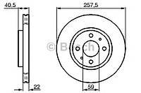 Диск тормозной Fiat LINEA, PUNTO передний вентилируемый (производство Bosch ), код запчасти: 0986478639
