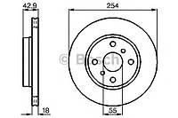Гальмівний диск toyota paseo,sera 1,5 88-99 (производство Bosch ), код запчасти: 0986478585