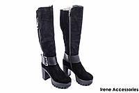 Сапоги женские замшевые El Passo (ботинки высокие, байка)
