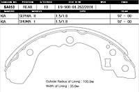 Колодка тормозная барабанная Kia SEPHIA 1.5, 1.8 97-00 задн. (производство Sangsin brake ), код запчасти: SA053
