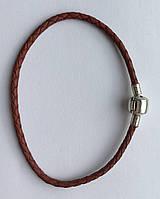 Кожаный браслет с серебряной застёжкой