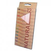 """Карандаши цветные в наборе 12 цв. MARCO """"Natural"""" 6100-12"""