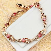 005-0624 - Красивый браслет с красными фианитами розовая позолота, 17 см