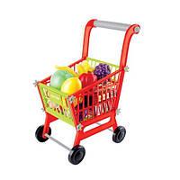 Детская тележка для супермаркета 14365, пластик, набор продуктов, 47,5х29х19.5 см
