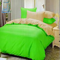 Евро комплект постельного белья beige-green-