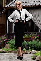Женская черная классическая юбка за колено с молнией
