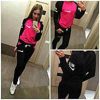 """Спортивный костюм для девушки """"Nike Double"""" (черно-малиновый)"""