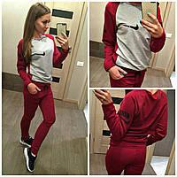"Спортивный костюм для девушки ""Nike Double"" (бордово-серый)"