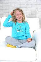 "Детская трикотажная пижама для девочки ""Hello Kitty"" бирюза"