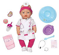 Интерактивная кукла пупс Беби Борн Доктор Baby Born Doctor Zapf Creation с чипом и аксессуарами