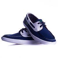 Синие мужские тканевые мокасины на шнурках под джинсы lacoste