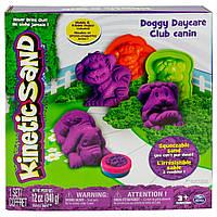 Песок для детского творчества - KINETIC SAND DOGGY фиолетовый, зеленый и формочки