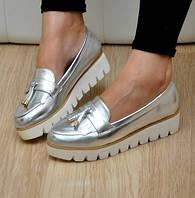 Стильные лоферы польский бренд Vices цвет серебро 40 размер