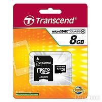 6Карта памяти 8Gb Transcend microSDHC + SD адаптер