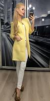 Пиджак женский длинный, бледно-желтый