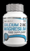 Комплекс микроэлементов Сa-Mg-Zn Calcium Zink Magnesium (100 таб.) BioTech USA