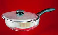 Сковорода 26 см высокая с утолщенным дном и крышкой Биол (2609БК)