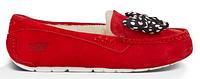 Женские зимние мокасины UGG Australia Minnie Mouse (Угги Австралия) с мехом красные