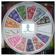 Стразы пластиковые в карусели для дизайна ногтей бабочки
