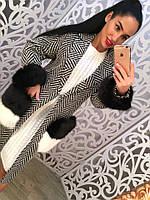 Стильное твидовое пальто с мехом 782 два цвета