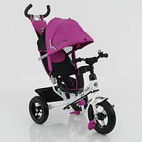 Детский велосипед с ручкой трехколесный Best Trike 5555, розовый, большие надувные колеса, подшипники