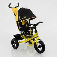 Трехколесный велосипед с ручкой Best Trike 5555 желтый, подшипники, диски алюминий, надувные колеса