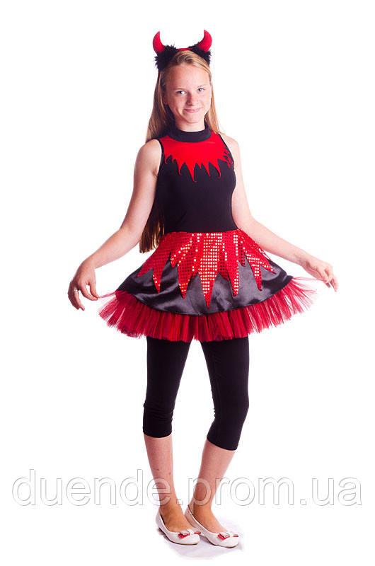 Чертик карнавальный костюм на хэллоуин для девочки 134-140, цена 525 грн., купить Киев, Полтава, Одесса, Львов, Хмельницк, Черно
