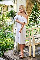 """Прямое льняное миди-платье """"Gatsby"""" с карманами и оголенными плечами (3 цвета)"""