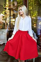 """Расклешенная женская миди-юбка из габардина """"Arizona"""" с завышенной талией (5 цветов)"""