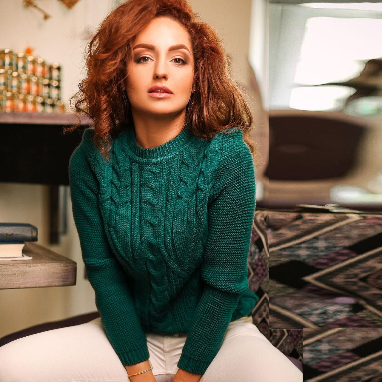 Женский свитер крупной вязки доставка