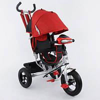 Трехколесный велосипед для детей с ручкой 6588 B: колёса надувные, складной козырёк, красный