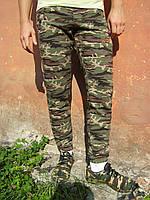 Мужские трикотажные спортивные брюки  NIKE на манжете камуфлированные хаки