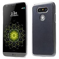 Чехол накладка для LG G5 H845 пластиковый с кожаной вставкой, Темно-синий