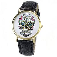 Часы женские наручные череп чёрные арт. 072