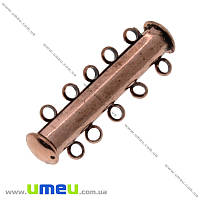 Магнитный замок-слайдер на 5 нитей, Медь, 31х10 мм, 1 шт (ZAM-016981)