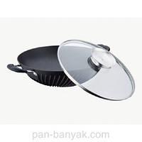 Сковорода WOK с крышкой две ручки d30 см алюминий с антипригарным покрытием Petergoff