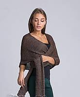 Модный женский свитер-шарф бронзового цвета